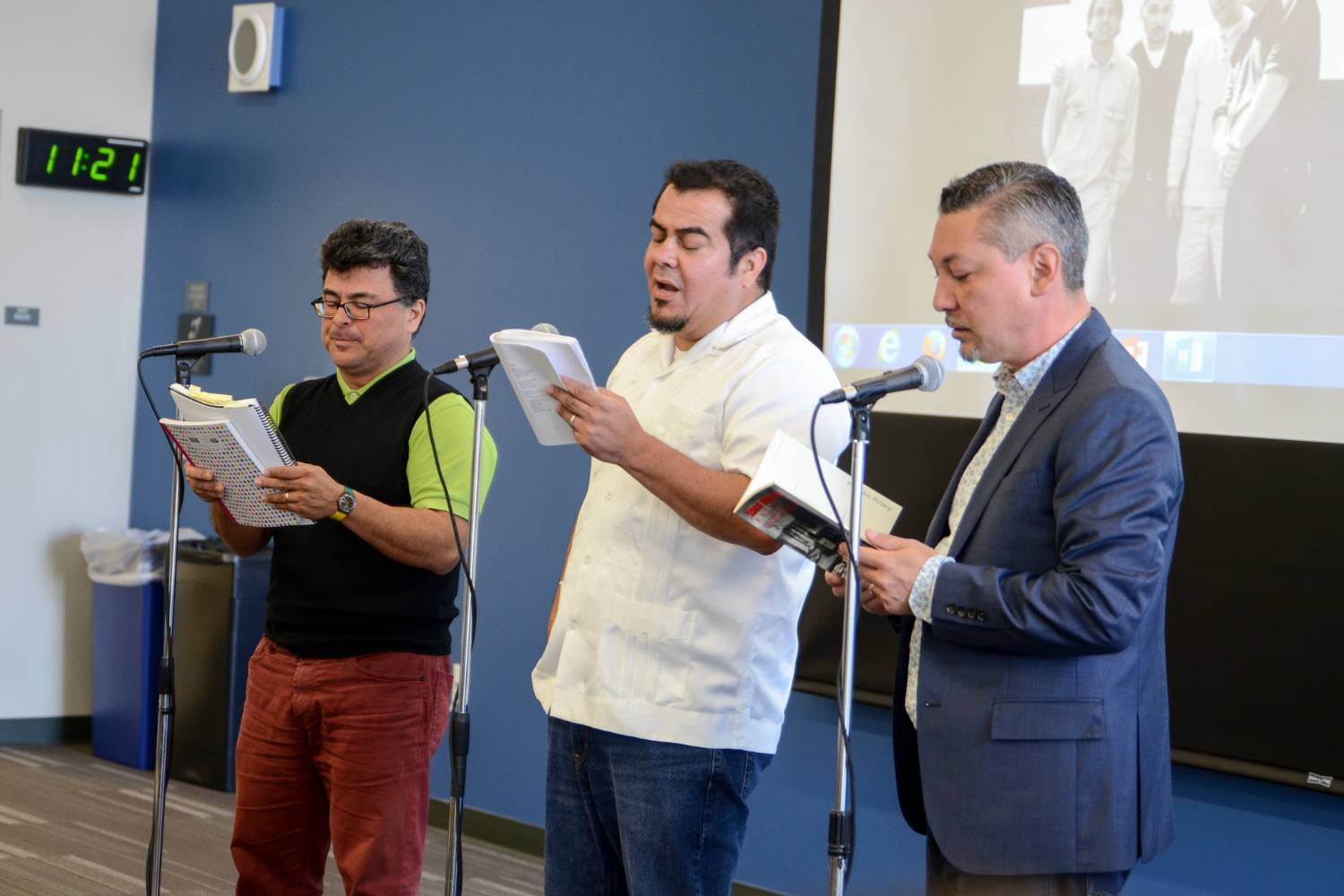 Tomás Riley, Adrian Arancibia and Adolfo Guzman-Lopez from the Latin spoken-word collective Taco Shop Poets performed and told the story of the formation of the group during a special reunion event at San Diego Mesa College on April 11.