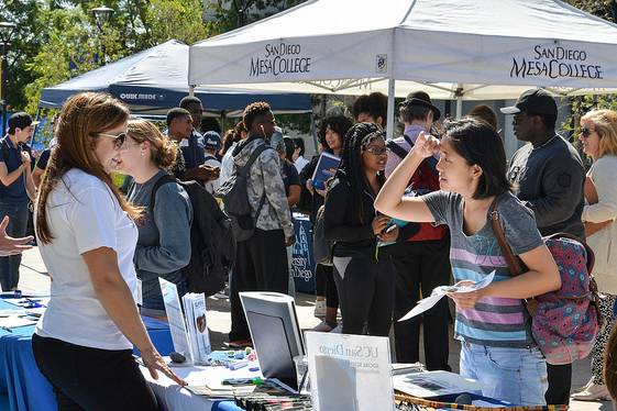 San Diego Mesa College students received information and advice about transferring to four-year colleges and universities during the Fall Transfer Fair on Oct. 4 at the Mesa Promenade. Representatives from more than 60 colleges attended the event, handed out pamphlets and gave out advice about transferring to their colleges.