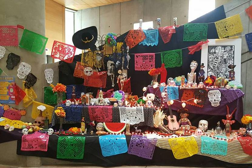 An alter for the deceased has been erected by Fine Art Professor Alessandra Moctezuma's Chicano art class and Spanish Professor Dora Schoenbrun-Fernandez's Spanish 201 class. The Dia de los Muertos alter will be on display in the LRC until Nov. 5.