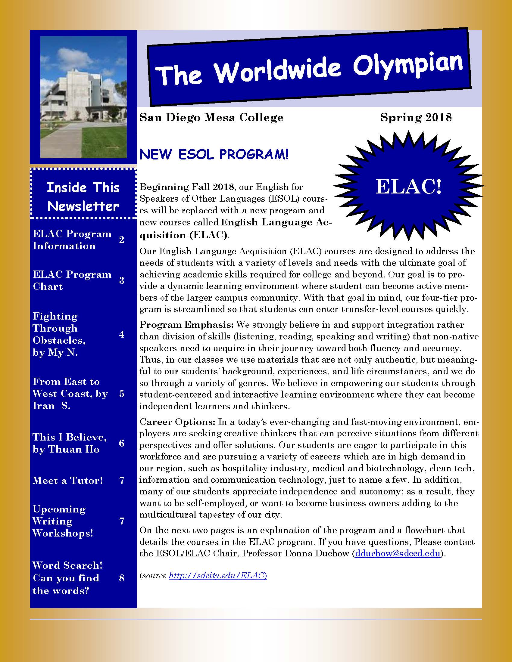 ESOL Newsletter Spring 2018